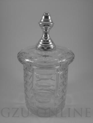 een 833/1000 Glazen deksel pot met zilveren knop
