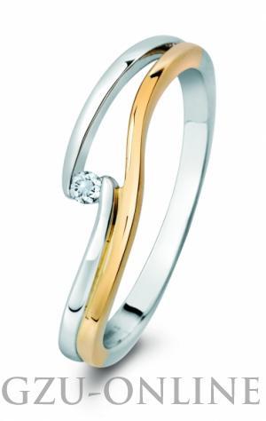 een 14 karaat  geel / witgoud ring