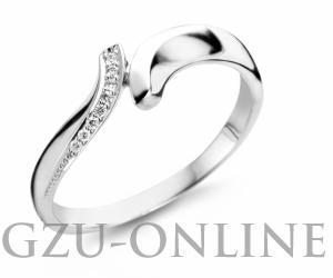 een 14 karaat  witgouden ring